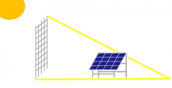 フェンスで太陽光パネルに影が差す
